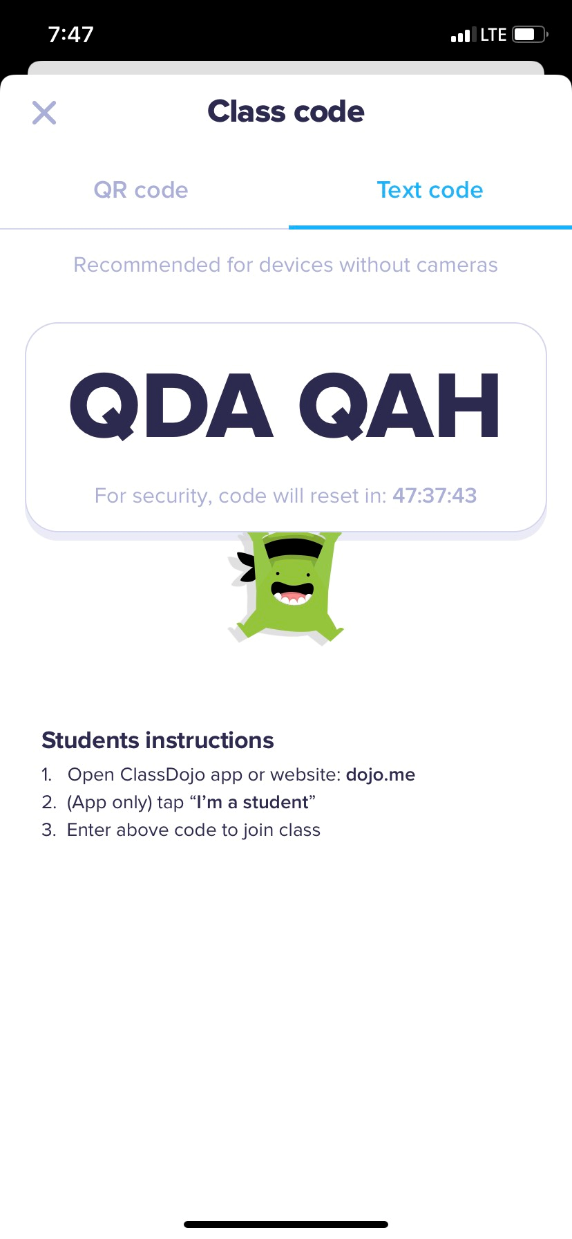 Please make sure to have the students log on to class dojo and enter this code for their own portfolio!