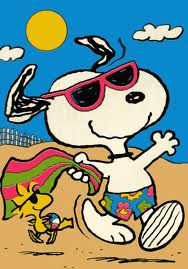 snoopy at the beach